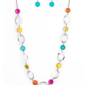 Multi color acrylic discs necklace with earrings